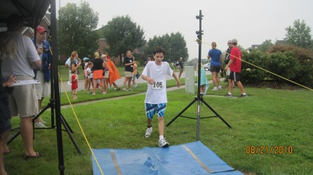 Patrick crosses the finish line!